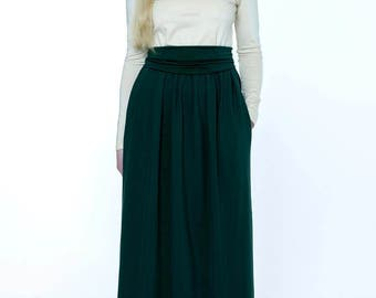 Champagne- Dark Green Maxi Dress Long Sleeves Pockets Sash