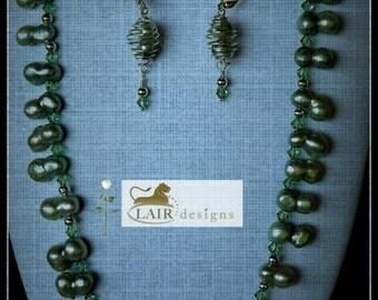 Mint Green Peanut Pearl Necklace & Earring Set