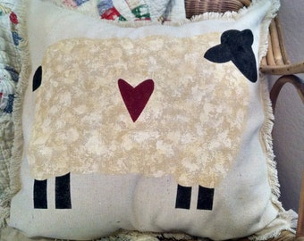 "Shabby Country  16""x16"" Adorable Prim Sheep Recycled Cotton Canvas Pillow Cover"
