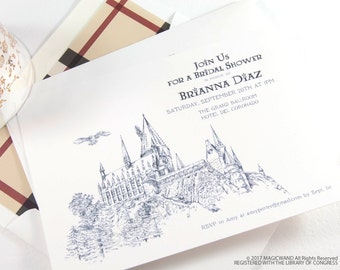 Harry Potter Bridal Shower Invitations, Fairytale Wedding, Hogwarts Castle, bridal showers, Hand Drawn (set of 25 cards & envelopes)