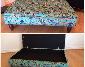 Luxury Upholstered Deep Buttoned Storage Footstool/Ottoman. Handmade In Your Own Fabric
