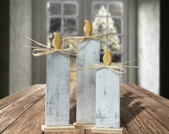 White Wood Christmas Candle Set - Christmas Decorations - Rustic Christmas Decor - Holiday Candles - Primitive Christmas Candle - Xmas