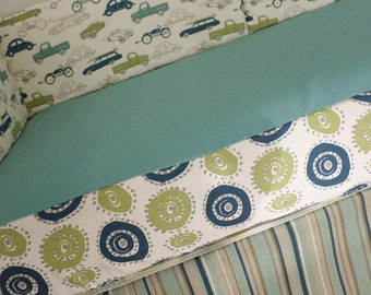 Unique Crib Set in Vintage Cars, Stripes and Modern Circles *Bumpers Sheet Skirt* Blue Green Tan *Modern Crib Bedding*