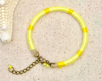 Lemon yellow thread bracelet . light yellow friendship bracelet . embroidery floss lemon yellow bracelet . beachy yellow macrame bracelet