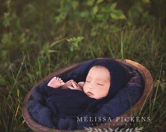 Navy Blue Newborn Bonnet, Newborn Knit Bonnet, Newborn Knit Hat, Newborn Blue Hat, Photo Prop