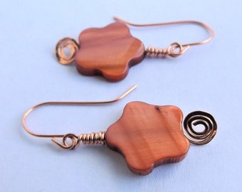 Flower Shell Earrings | Copper Earrings | Floral | Flower Drop | Copper Jewelry
