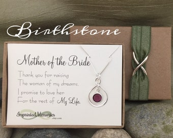 Mother of the BRIDE Gift from Groom - Mother of the Bride Necklace - Sterling Silver Crystal Thank You for Raising the Woman of My Dreams