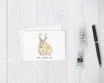 Fat Jackalope Greeting Card Funny, Quirky birthday all occasion