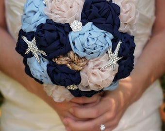 Beach Wedding Bouquet | Wedding Bouquet | Nautical Wedding | Beach Bridal Bouquet | Brooch Bouquet | Fabric Wedding Flowers | Bridal Bouquet