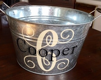 Large Galvanized Tin Bucket