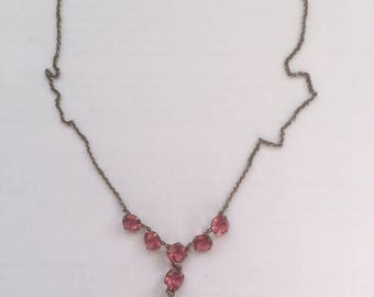Vintage Art Deco Simulated Pink Quartz Glass Pendant Necklace - Old Gold Tone Metal Chain 1930s Costume Jewelry