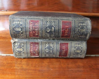 History of the World Volume 1 and 2 by Samuel Maunder, 1853 First Edition Henry Bill Antique Reference Books
