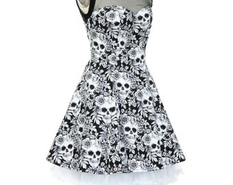 Gothic Dress Skull Dress Skater Dress Halloween Dress Day Of The Dead Dress Psychobilly Steampunk Dress Rockabilly Dress Pin Up Party Dress