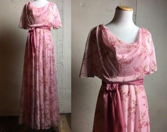 Vintage Pink Maxi Dress | Pink Floral | XS extra small | Vintage Bridesmaid Dress | Vintage Wedding | Vintage Bridal | Pink Bridesmaid Dress