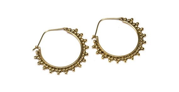 Brass Afghani Dots Hoop  Earrings Tribal Earrings Mandala Jewellery Free UK Delivery Gift Boxed BG8