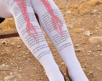 Clothing -Anne of Green Gables - Tights Quotes - size S / M / L full length,White or Beige