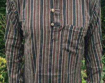 Long Sleeved Stripped Collarless Grandad Kurta Shirts 100% Cotton - M L XL XXL Blue White Brown