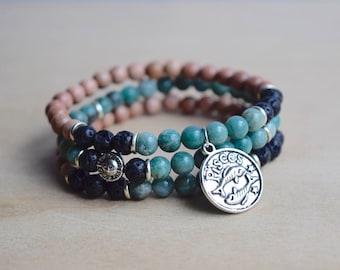 Pisces Bracelet / Zodiac Bracelet / Astrology Bracelet / Stackable Bracelet Set / Diffuser Bracelet Stack / Bloodstone Bracelet