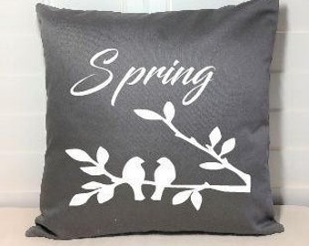 Spring Pillow Cover, Gray, Birds  on a Branch, Home Sweet Home, New Home, Housewarming, Welcome Spring