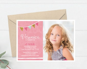 Girl Birthday Invitation, Photo Party Invite Printable, Pink and Gold Party Girls, I customise for you to print  (B2.Bday)