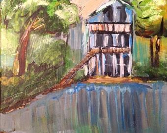 Be Still Blue Home... original acrylic painting