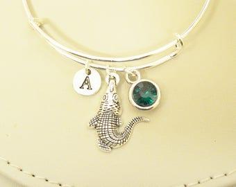 Crocodile bracelet , Crocodile bangle, Alligator bracelet, Alligator bangle, Gator bracelet, Animal charm gift, Birthstone jewelry, Silver