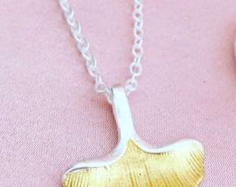 Sterling Silver Ginko Leaf Pendant Necklace