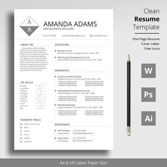 Single Page Clean Resume Template + Cover Letter Template + Free