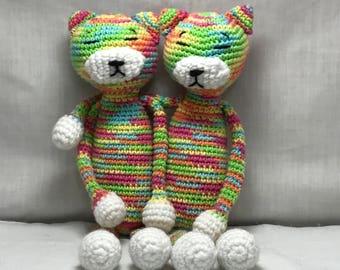 FREE SHIPPING Crochet Amineko Long Cat, Handmade Crochet Cat Plushie, Ragdoll Kitty Cat Stuffed Animal, Crochet Kitten Cat Toy Animal