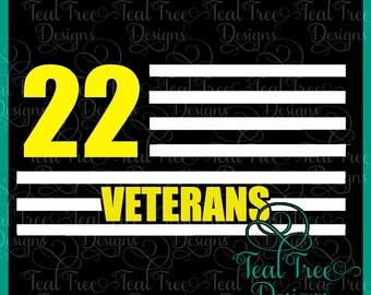 22 Veterans Decal