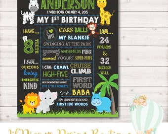 Jungle Chalkboard, First Birthday Chalkboard Sign, 1st Birthday Board, Safari, Jungle, Animals, Elephants, Hippos, Digital, Printable