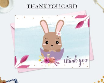 Easter party decorations, first birthday card, easter thank you cards, watercolor card, mothers day card, bunny party favors, thank you note