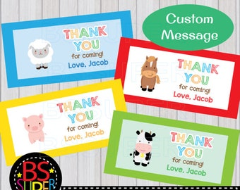 Farm Party Favor Tags, Farm Animals Treat Bag Toppers, Farm Party Thank You Tags