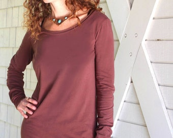 Sol Tunic, Long Sleeve, Organic Cotton Jersey, Hand Dyed, Scoop Neck Tunic Top
