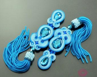 Turquoise blue tassel earrings, soutache earrings, boho fringe earrings, extra long turquoise earrings, hippie earrings, orecchini soutache