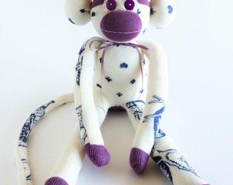 Alice in Wonderland Sock Monkey-Cheshire Cat Sock Monkey- Sock Monkey-Lewis Carroll Sock Monkey-Lavender Sock Monkey-Alice in Wonderland