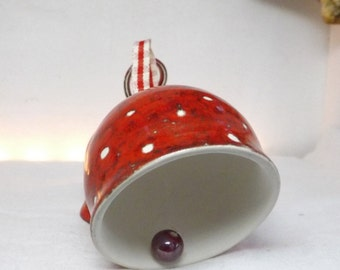 Ceramic bell ~ festive red ~ country chic ~ christmas gift ~ christmas decoration ~ red and white ~ polka dot ~ ornament