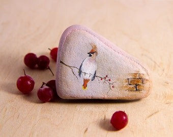 Bohemian waxwing (Original oil painting on a stone). Free shipping
