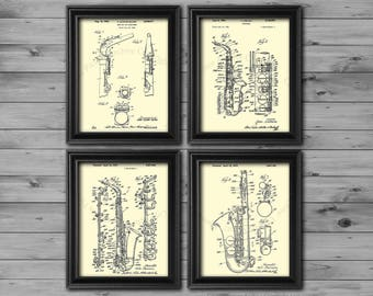 Saxophone gifts set of 4 art prints in cream color Gift for Dad, gift for saxophonist, Musician decor, Saxophone poster, Jazz decor