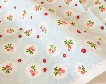 Cotton flowers, leaf with light blue background, kid, girl, woman, nature of 100% Cotton Fabric Fat Quarter, yard.