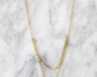 N1053 - New Gold Sterling Silver Layer Stone Necklace