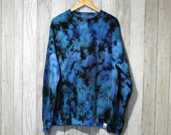 Marble Tie Dye Crew Neck Jumper Blue/Black