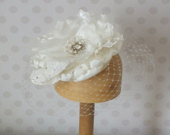 SAMPLE SALE Handmade Ivory Satin and Tulle Birdcage Veil Hair Flower Fasciator. Bridal, bridesmaid, wedding guest