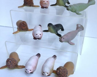 Vintage Ocean Model Sets, AAA Models, Solid Diorama Sea Life Animals, Harbor Seal, Fur Seal, Sea Lion & Manatee, Similar to Schleich Models