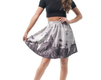 Hogwarts Flirt Skirt, Harry Potter Printed Hedwig Flared Spandex Skirt