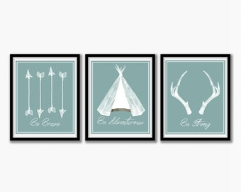 Tribal nursery decor, Hunting nursery print, Nursery art print, Kids Decor, Nursery Wall Decor, Play Room Decor, Kids Room Decor, Set of 3