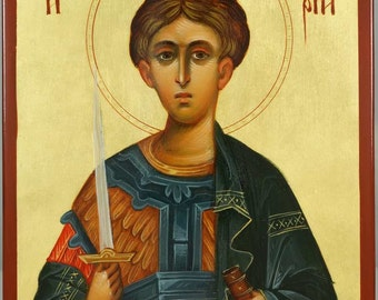 Saint St Demetrius Dimitri of Tessaloniki Hand-Painted Greek Orthodox Byzantine Icon on Wood (Premium Quality)