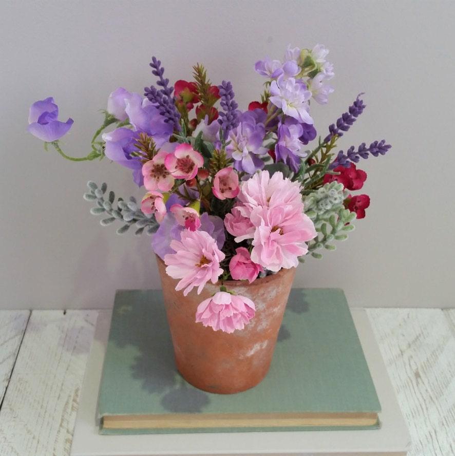 Purple Pink Silk Flower Arrangement Mothers Day Gift Ideas