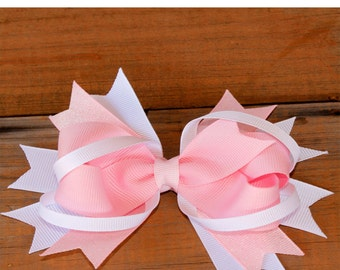 This beautiful hand made grosgrain clip Hair Bow is made from a pink ribbon on a white ribbon