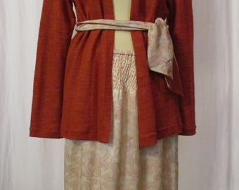 Cream silk summer skirt with Smok Federal / copper